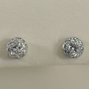 Deco Old European Cut Diamond Halo Stud Earrings in White Gold.JPG
