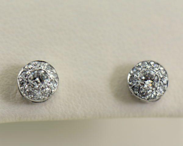 Deco Old European Cut Diamond Halo Stud Earrings in White Gold 2.JPG