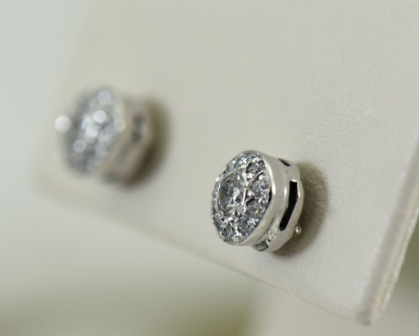 Deco Old European Cut Diamond Halo Stud Earrings in White Gold 3.JPG