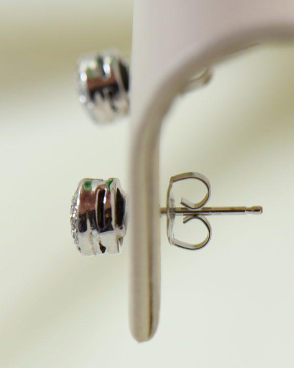Deco Old European Cut Diamond Halo Stud Earrings in White Gold 5.JPG