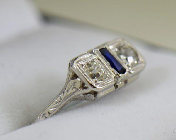 Diamond Synthetic Sapphire Die Struck Art Deco 2 stone ring 2.JPG