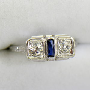 Diamond Synthetic Sapphire Die Struck Art Deco 2 stone ring 3.JPG
