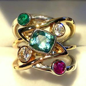 Eide custom mothers ring in tricolor gold 5