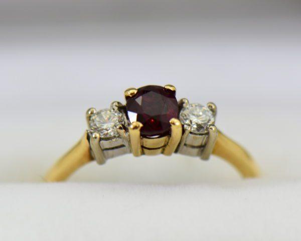 Estate Pigeon Blood Ruby Diamond 3 Stone Ring two tone gold.JPG