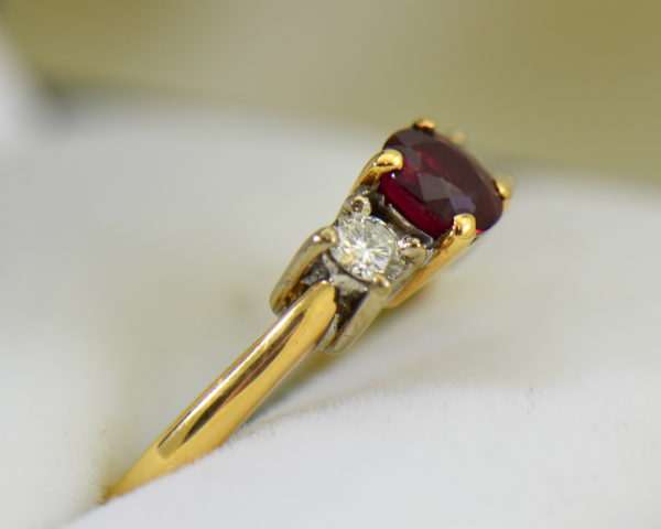 Estate Pigeon Blood Ruby Diamond 3 Stone Ring two tone gold 2.JPG
