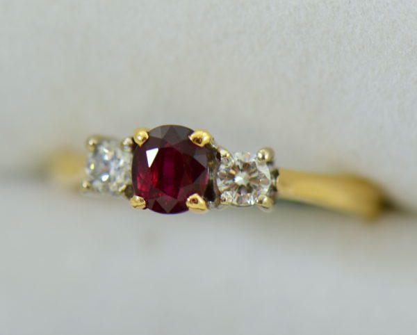 Estate Pigeon Blood Ruby Diamond 3 Stone Ring two tone gold 3.JPG