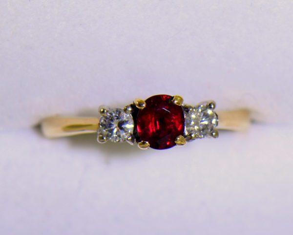 Estate Pigeon Blood Ruby Diamond 3 Stone Ring two tone gold 4.JPG