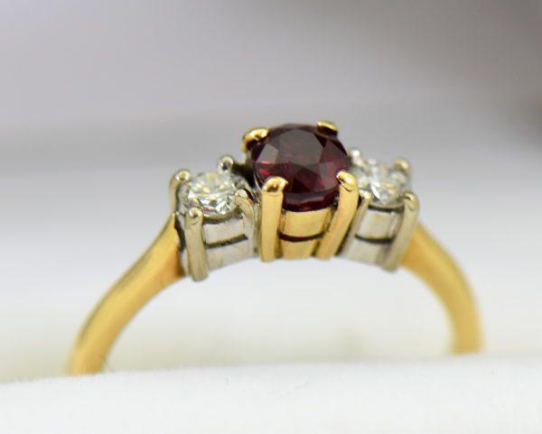 Estate Pigeon Blood Ruby Diamond 3 Stone Ring two tone gold 5.JPG