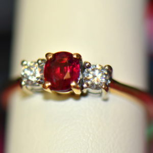 Estate Pigeon Blood Ruby Diamond 3 Stone Ring two tone gold 6.JPG
