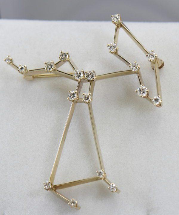 Estate AGA Correa Saggitareus The Archer Constellation Diamond Brooch in white gold 4.JPG