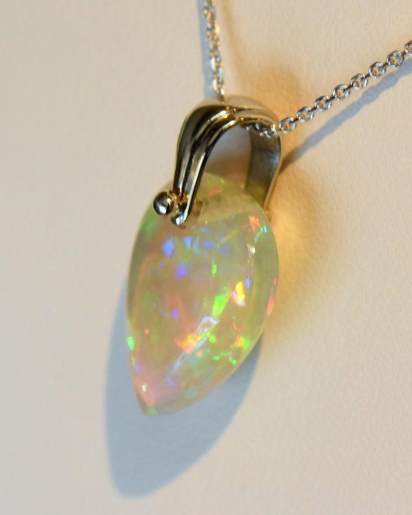 Ethiopian crystal opal bead pendant in white gold 4.JPG