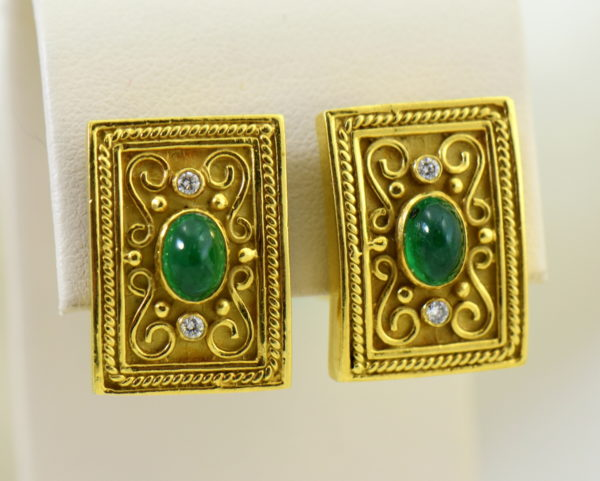 Etruscan Style 18k yellow gold earrings with cabochon emeralds and diamonds omega backs.JPG