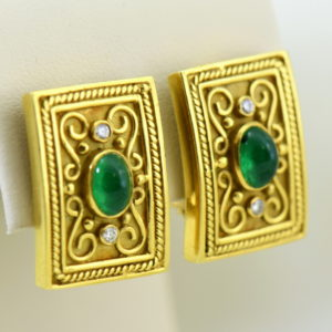 Etruscan Style 18k yellow gold earrings with cabochon emeralds and diamonds omega backs 2.JPG