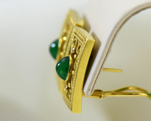 Etruscan Style 18k yellow gold earrings with cabochon emeralds and diamonds omega backs 3.JPG