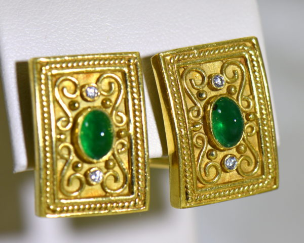 Etruscan Style 18k yellow gold earrings with cabochon emeralds and diamonds omega backs 4.JPG