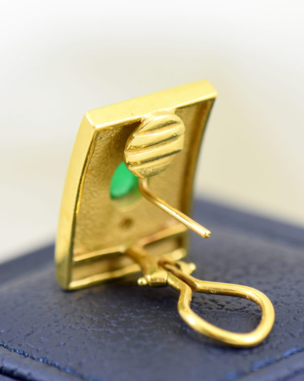 Etruscan Style 18k yellow gold earrings with cabochon emeralds and diamonds omega backs 5.JPG