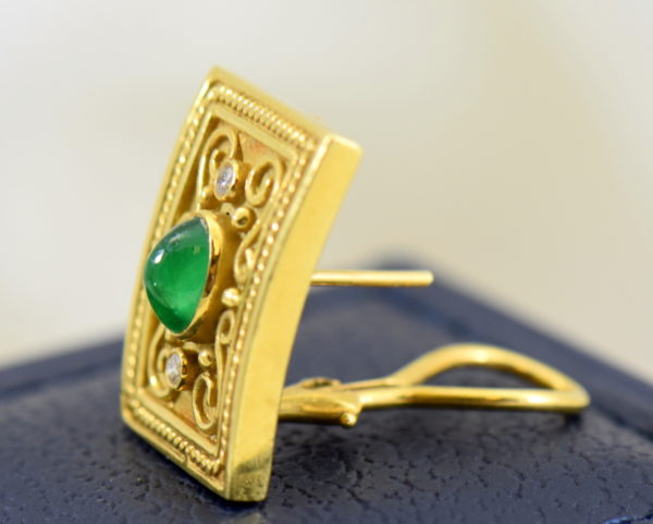 Etruscan Style 18k yellow gold earrings with cabochon emeralds and diamonds omega backs 7.JPG