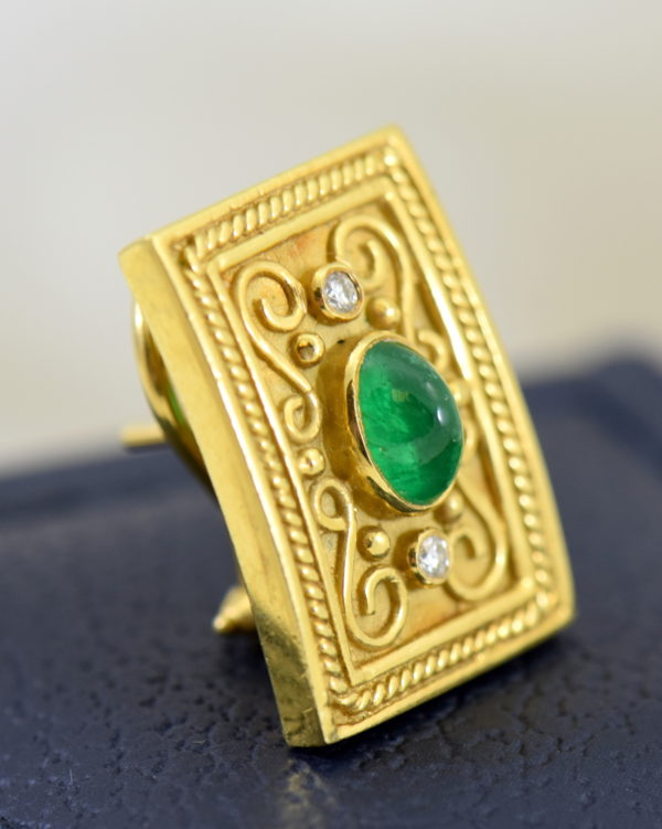 Etruscan Style 18k yellow gold earrings with cabochon emeralds and diamonds omega backs 8.JPG