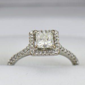 GIA certified .70ct princess cut diamond halo engagement ring 3.JPG