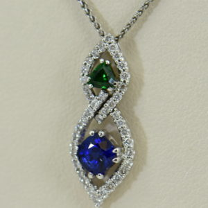 Green Tsavorite Blue Sapphire Pendant with Diamond Accents.JPG