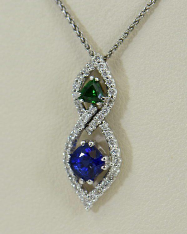 Green Tsavorite Blue Sapphire Pendant with Diamond Accents.JPG