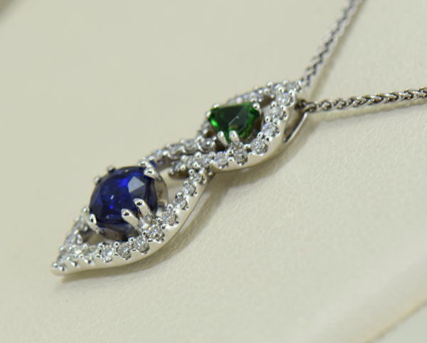 Green Tsavorite Blue Sapphire Pendant with Diamond Accents 2.JPG