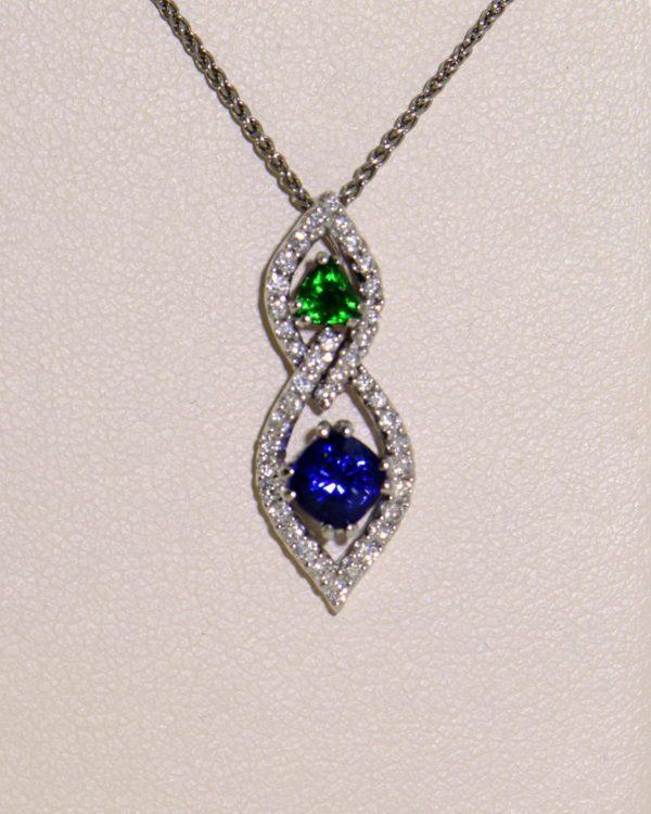 Green Tsavorite Blue Sapphire Pendant with Diamond Accents 4.JPG