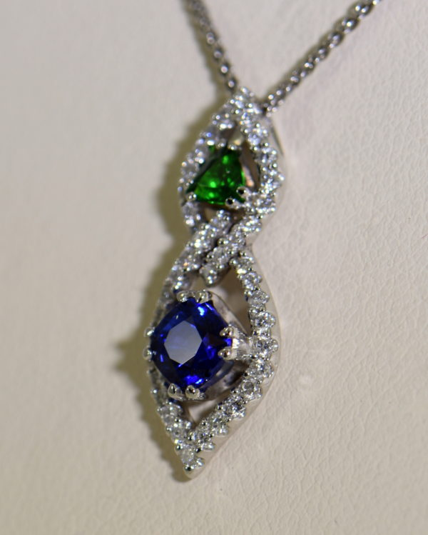 Green Tsavorite Blue Sapphire Pendant with Diamond Accents 5.JPG