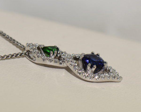 Green Tsavorite Blue Sapphire Pendant with Diamond Accents 6.JPG