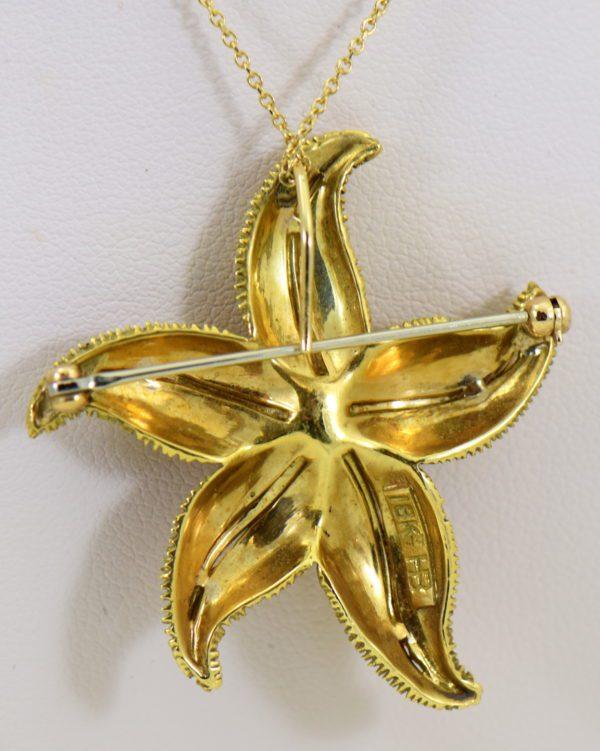 Hammerman Brothers Starfish pendant pin 18k yellow gold 2.JPG