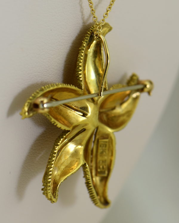Hammerman Brothers Starfish pendant pin 18k yellow gold 4.JPG