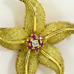 Hammerman Brothers Starfish pendant pin 18k yellow gold 5.JPG