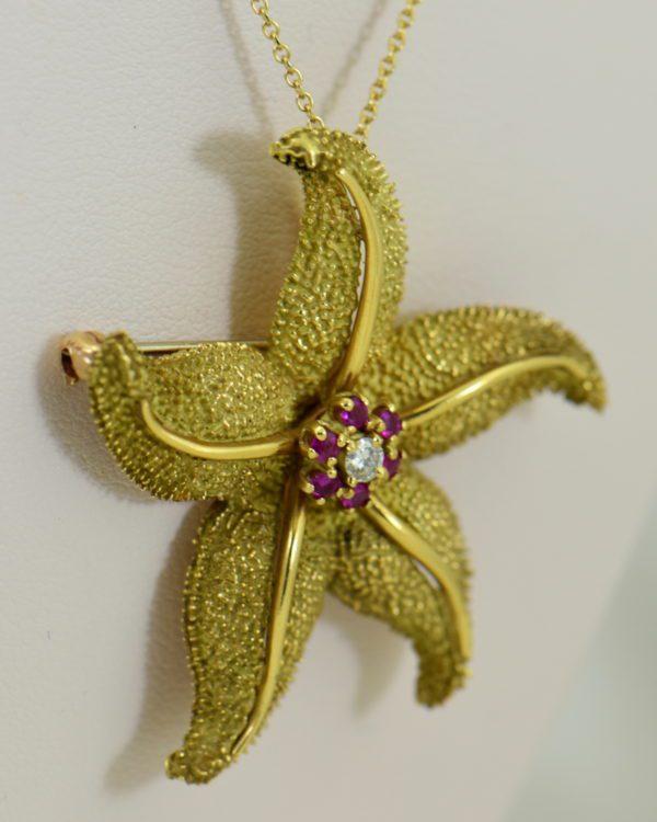Hammerman Brothers Starfish pendant pin 18k yellow gold 6.JPG