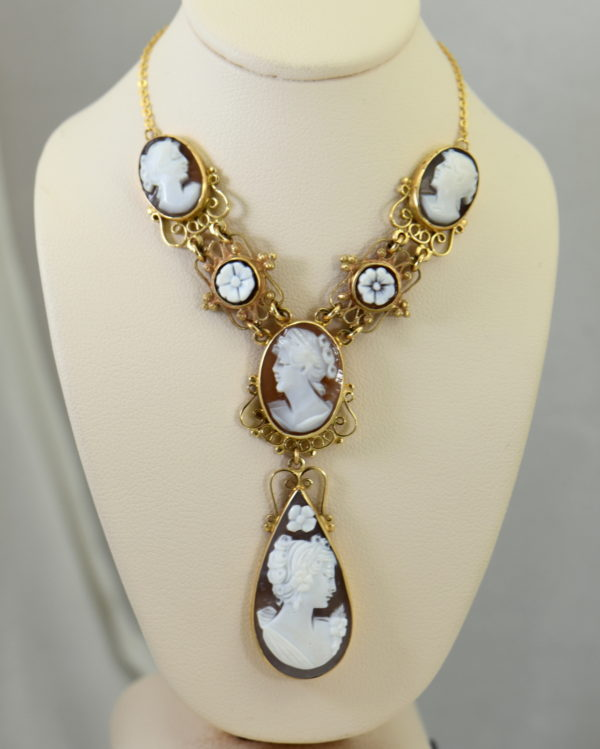 Mid Century Italian Shell Cameo Necklace in 18k and 14k yellow gold.JPG