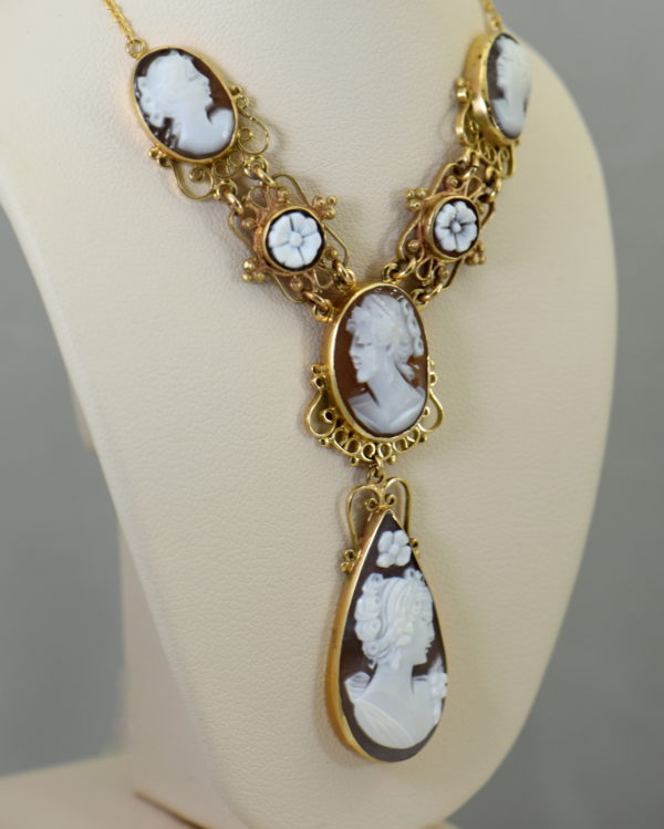 Mid Century Italian Shell Cameo Necklace in 18k and 14k yellow gold 2.JPG