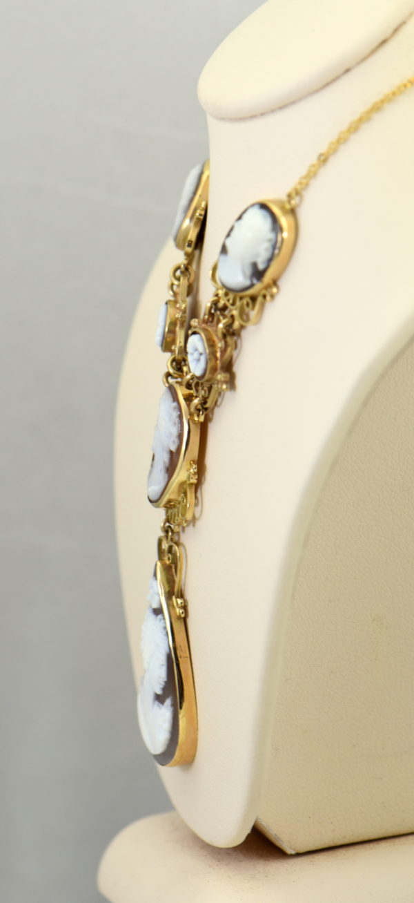 Mid Century Italian Shell Cameo Necklace in 18k and 14k yellow gold 3.JPG