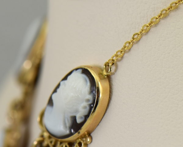 Mid Century Italian Shell Cameo Necklace in 18k and 14k yellow gold 4.JPG
