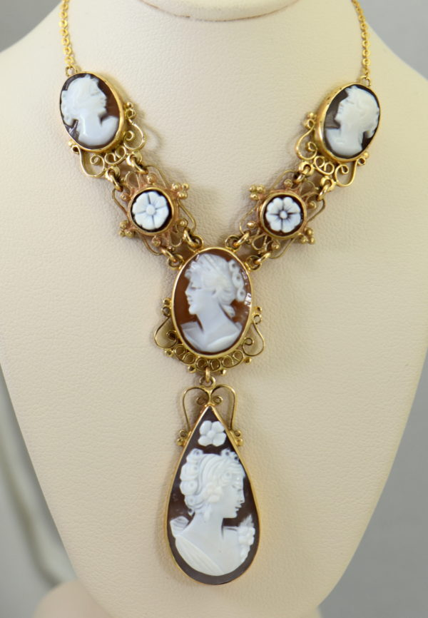 Mid Century Italian Shell Cameo Necklace in 18k and 14k yellow gold 6.JPG