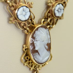 Mid Century Italian Shell Cameo Necklace in 18k and 14k yellow gold 7.JPG