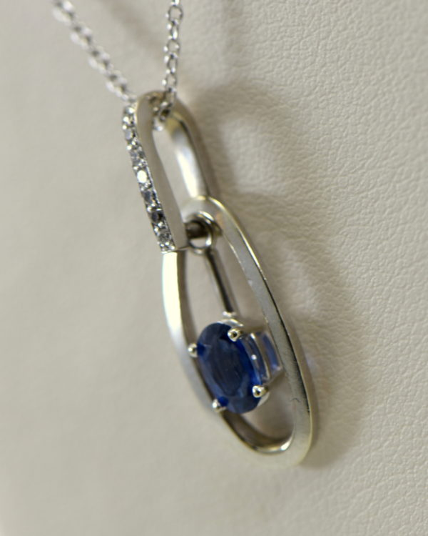 Modern Estate Oval Blue Sapphire Diamond Pendant with movable white gold frame 3.JPG