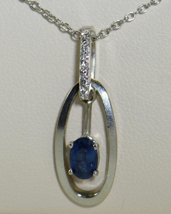 Modern Estate Oval Blue Sapphire Diamond Pendant with movable white gold frame 5.JPG