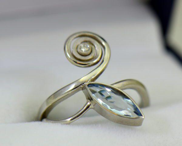 Modern Freeform Swirl Ring with Marquise Aquamarine in white gold.JPG