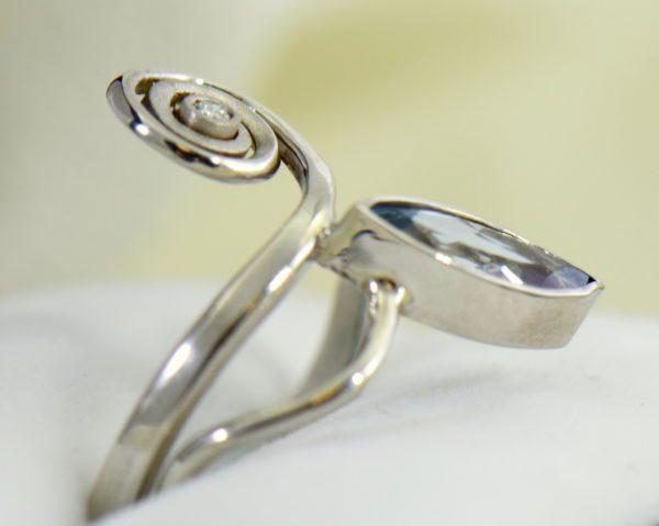 Modern Freeform Swirl Ring with Marquise Aquamarine in white gold 2.JPG