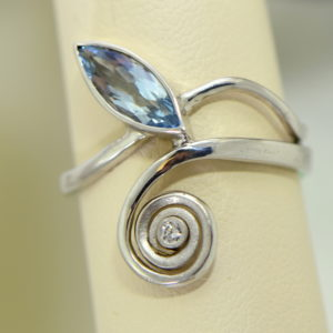 Modern Freeform Swirl Ring with Marquise Aquamarine in white gold 3.JPG