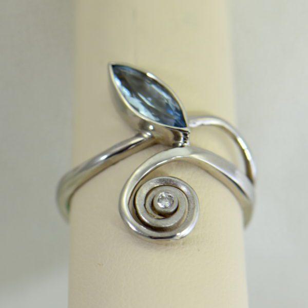 Modern Freeform Swirl Ring with Marquise Aquamarine in white gold 5.JPG