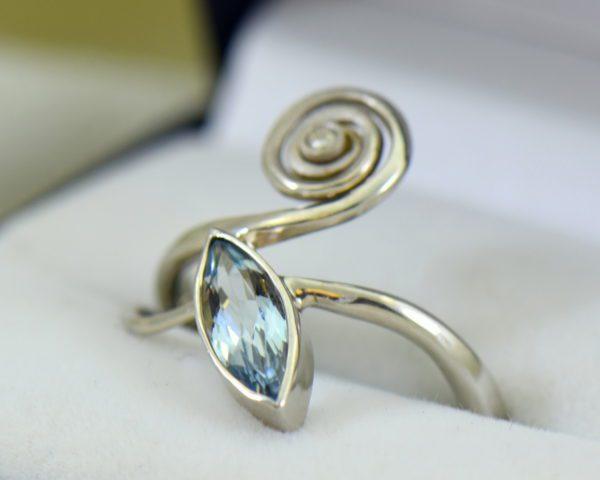 Modern Freeform Swirl Ring with Marquise Aquamarine in white gold 6.JPG