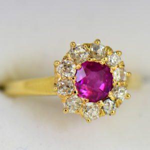 Unheated Ruby Mine Cut Diamond Victorian Halo Ring in yellow gold 3.JPG