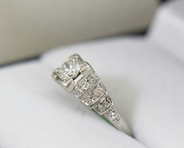 Art Deco .33ct platinum engagement ring with stair step diamond accents 2.JPG