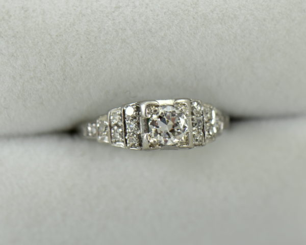 Art Deco .33ct platinum engagement ring with stair step diamond accents 6.JPG