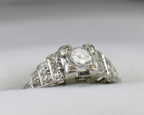 Art Deco .33ct platinum engagement ring with stair step diamond accents 7.JPG